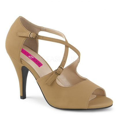 taupe peep toe crisscross ankle strap sandal with 4-inch heel Dream-412