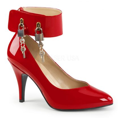 red wide band locking ankle strap pump shoes with 4-inch Dream-432