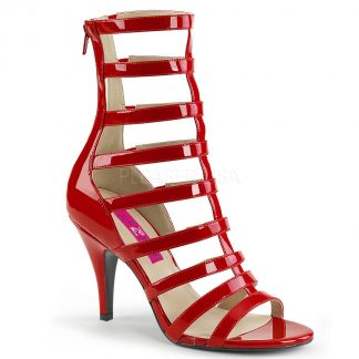 red strappy ankle boot with 4-inch spike heel Dream-438