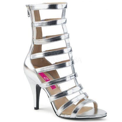 silver strappy ankle boot with 4-inch spike heel Dream-438