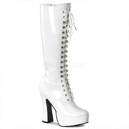 white lace-up platform knee high boot 5-inch chunky heel Electra-2020