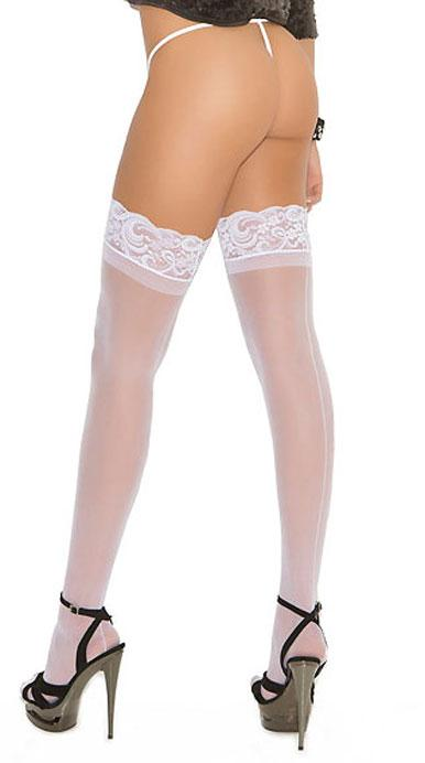 back view of white sheer thigh high stockings with back seam EM-1702