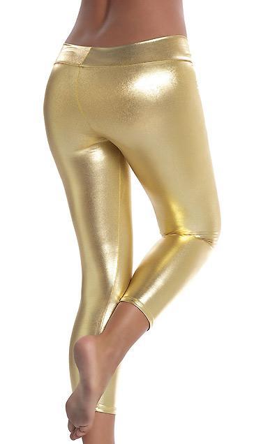back view of gold Stretch Metallic Foil Leggings 1011