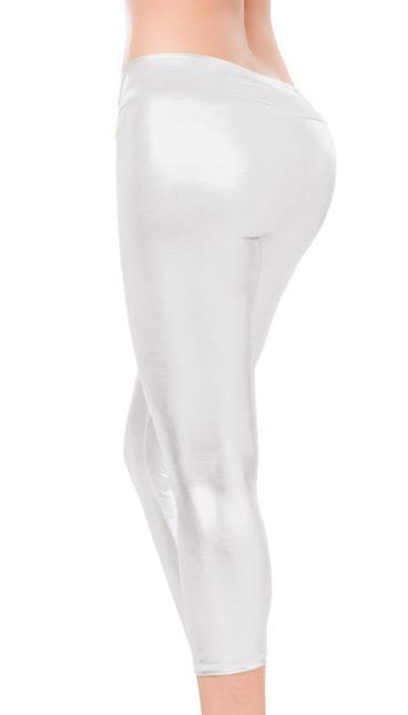 back view of silver Stretch Metallic Foil Leggings 1011