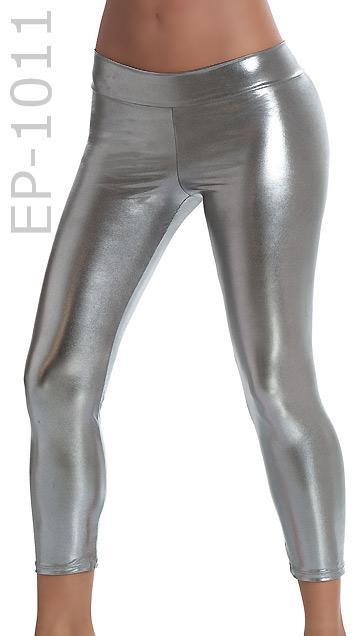 gun metal Stretch Metallic Foil Leggings 1011