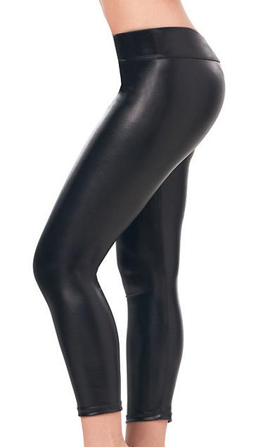 black Stretch Metallic Foil Leggings 1011