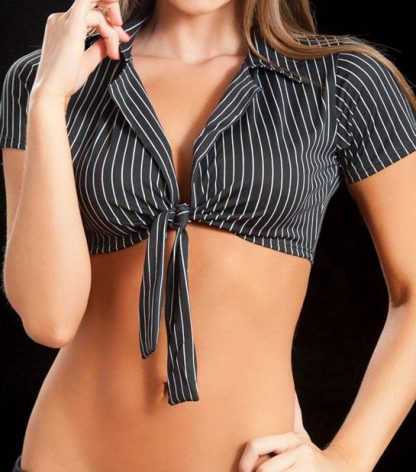 pin stripe Front tie crop top with collar and sleeves