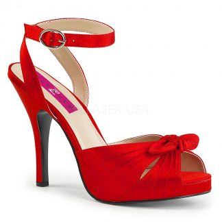 red platform ankle strap sandal with bow accent and 5-inch heel Eve-01