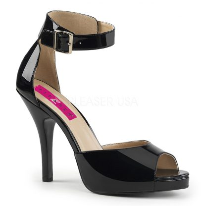 black closed back sandal with ankle strap and 5-inch heel Eve-2