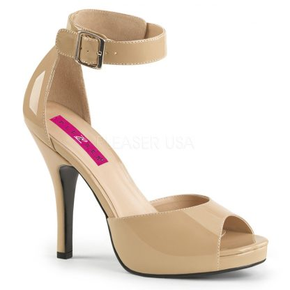 cream closed back sandal with ankle strap and 5-inch heel Eve-2