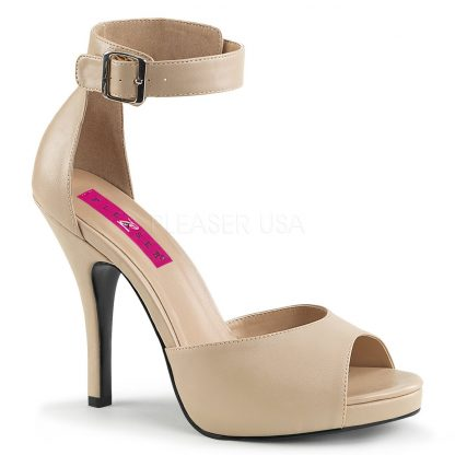 cream faux leather closed back ankle strap sandal and 5-inch heel Eve-2