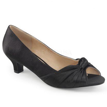 black satin peep toe pump with 2-inch heel Fab-422