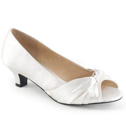 ivory white peep toe pump with 2-inch heel Fab-422