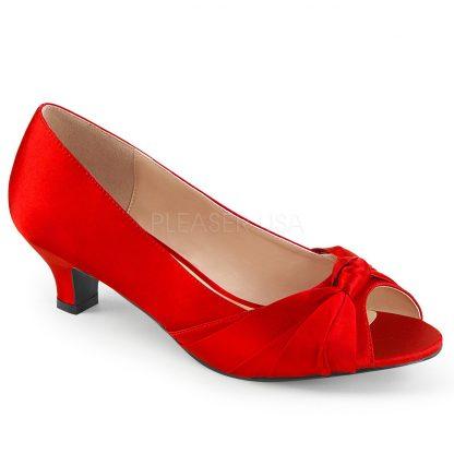 red peep toe pump with 2-inch heel Fab-422