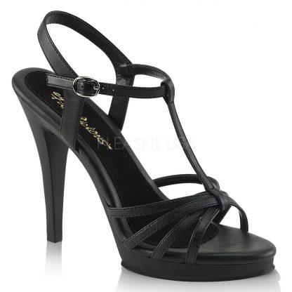strappy matte black platform sandals with 4-inch stiletto heels
