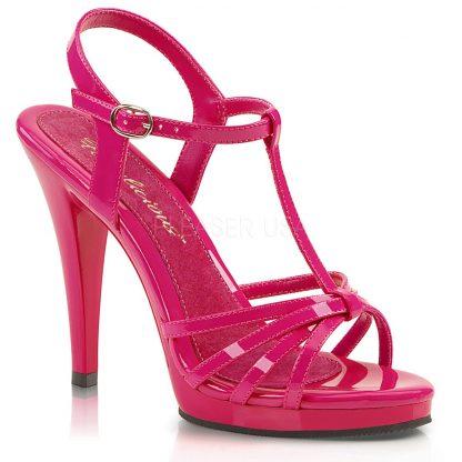 strappy hot pink platform sandals with 4-inch stiletto heels Flair-420