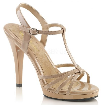 strappy nude platform sandals with 4-inch stiletto heels Flair-420