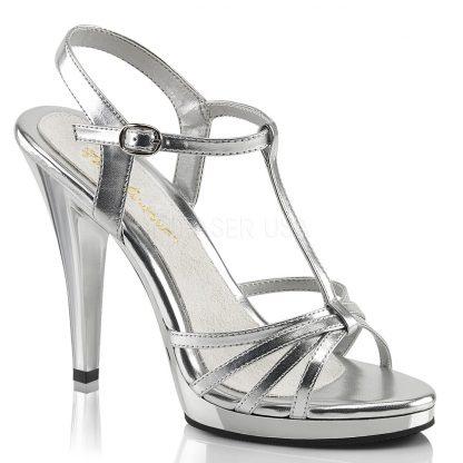 strappy silver platform sandals with 4-inch stiletto heels Flair-420