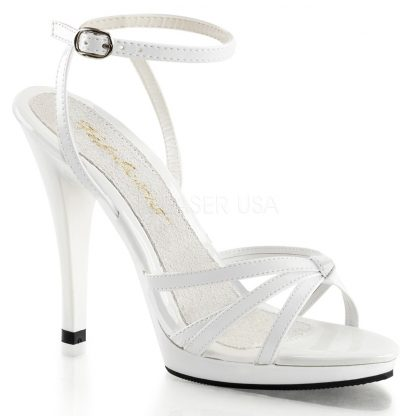white Strappy ankle wrap platform sandal shoe with 4.5-inch heel Flair-436