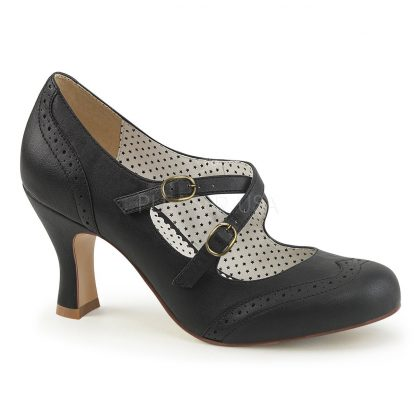 Round toe black faux leather criss-cross Mary Jane pump 3-inch heel Flapper-35