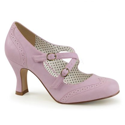 Round toe lavender faux leather Mary Jane pump 3-inch heel Flapper-35