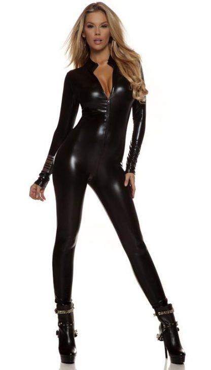 Low neckline shiny black metallic long sleeve catsuit 113505