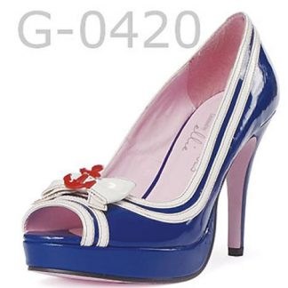American sailor costume high heel blue peep-toe pump shoe 420-Matey