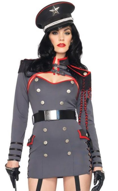 close up of General Punishment sexy adult 4-pc military costume 83942