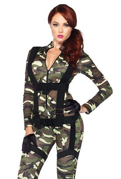 close up view of 85166 Pretty Paratrooper Camouflage Costume