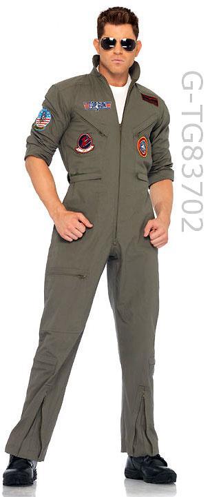 full view Men's 2-piece Top Gun flight suit military costume