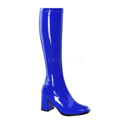 blue knee high GoGo boots 3-inch heel sizes 5-16