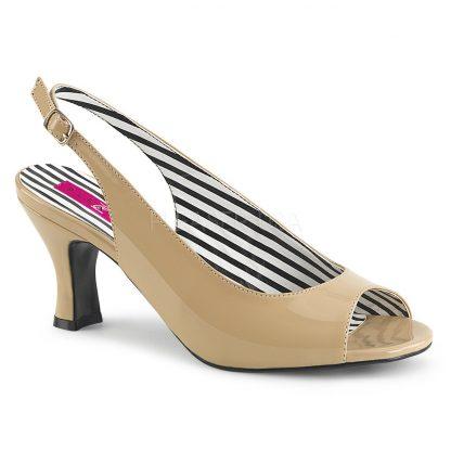 cream slingback peep toe pump shoes with 3-inch heels Jenna-02