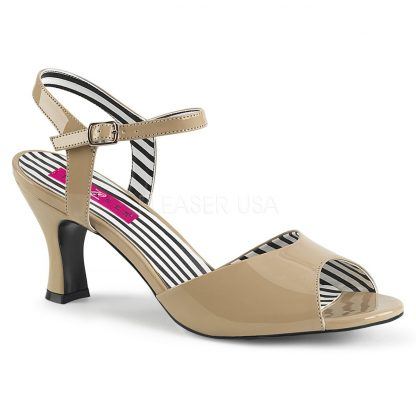 cream ankle strap peep toe sandal shoe with 3-inch heel Jenna-09