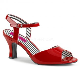 red ankle strap peep toe sandal shoe with 3-inch heel Jenna-09