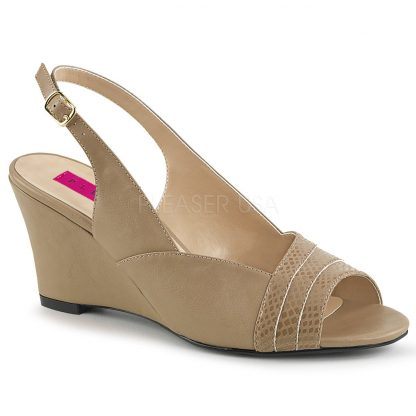 taupe slingback wedge peep toe sandal shoes with 3-inch heel Kimberly-01SP