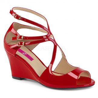 red strappy wedge sandal shoes with 3-inch heel Kimberly-04