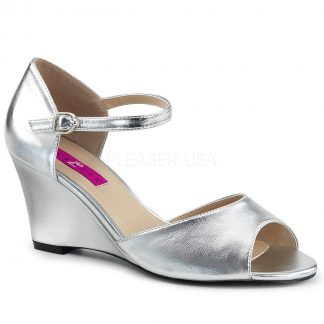 silver ankle strap wedge peep toe sandal shoes with 3-inch heel Kimberly-5