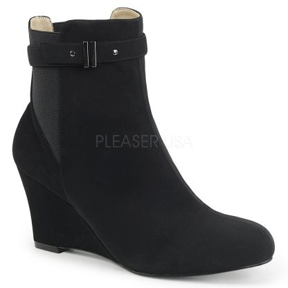 black suede ankle boot with 3-inch wedge heel Kimberly-102