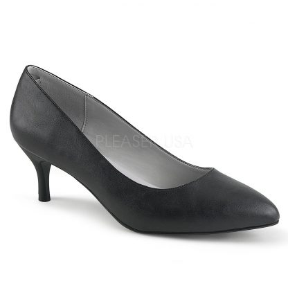 black faux leather classic pump shoes with 2.5-inch kitten heels Kitten-01