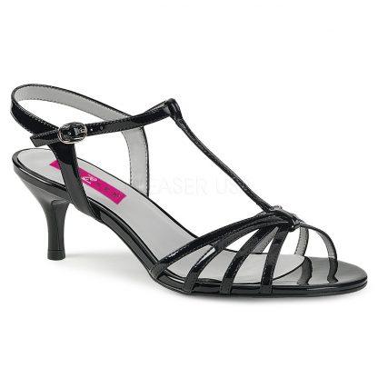 black T-Strap open toe sandal shoes with 2-inch kitten heel Kitten-06