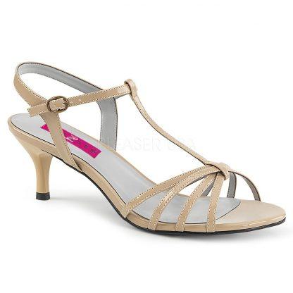 cream T-Strap open toe sandal shoes with 2-inch kitten heel Kitten-06