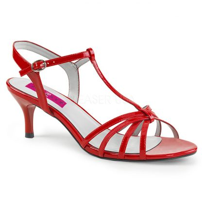 red T-Strap open toe sandal shoes with 2-inch kitten heel Kitten-06