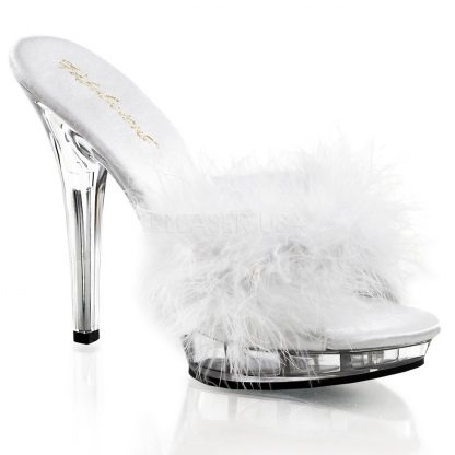 white Feather slipper shoe with clear 5-inch heel Lip-101-8