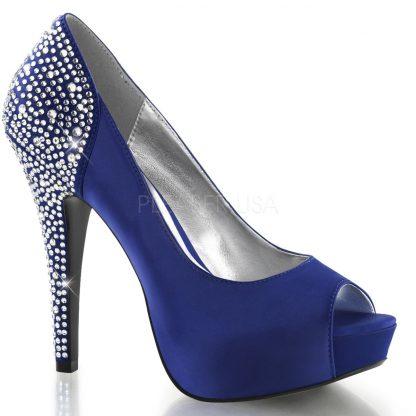blue Peep Toe Pump with Rhinestones Embedded on 5-inch Heel Lolita-08
