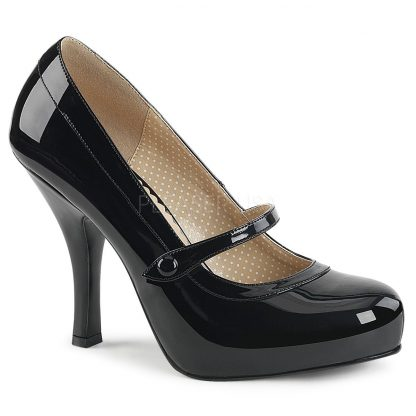black Mary Jane pump shoes with 4.5-inch spike heel Pinup-01