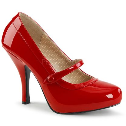 red Mary Jane pump shoes with 4.5-inch spike heel Pinup-01