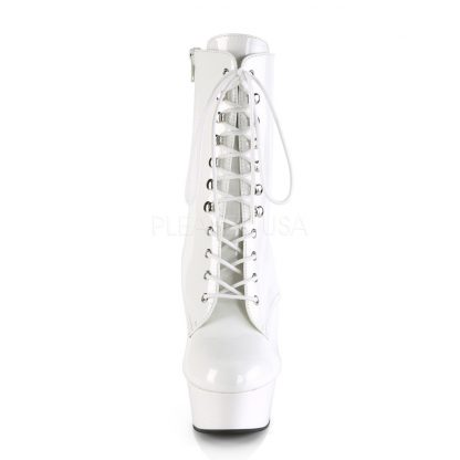 DELIGHT-1020 front view white lace-up ankle boot with 6 inch spike heel