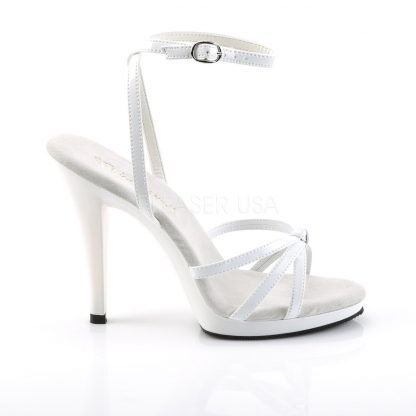 FLAIR-436 white ankle strap shoe 4-inch spike heel