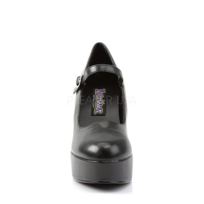 front view of MaryJane-50 black Mary Jane shoes with 4-inch chunky heels