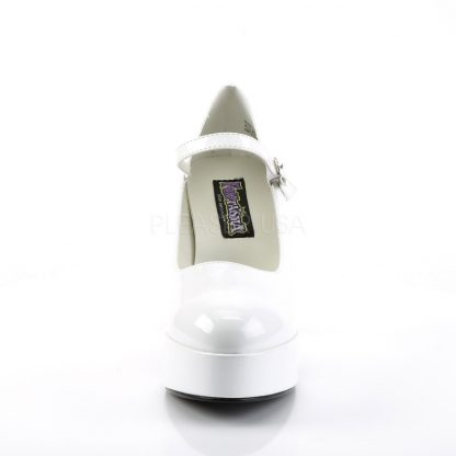 front of white Mary Jane shoes with 4-inch chunky heels